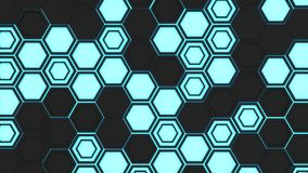 Abstract 3d background made of black hexagons on blue glowing background Stock Photo