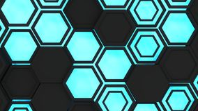 Abstract 3d background made of black hexagons on blue glowing background. Wall of hexagons. Honeycomb pattern. 3D render illustration Royalty Free Stock Photo