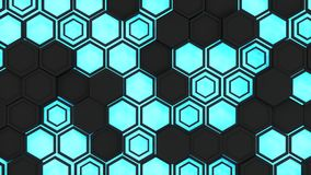 Abstract 3d background made of black hexagons on blue glowing background. Wall of hexagons. Honeycomb pattern. 3D render illustration Stock Photo
