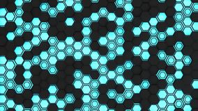 Abstract 3d background made of black hexagons on blue glowing background. Wall of hexagons. Honeycomb pattern. 3D render illustration Stock Image