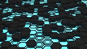 Abstract 3d background made of black hexagons on blue glowing background. Wall of hexagons. Honeycomb pattern. 3D render illustration Royalty Free Stock Image