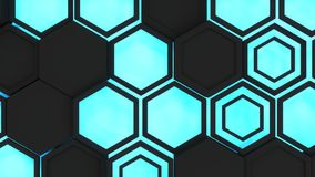 Abstract 3d background made of black hexagons on blue glowing background. Wall of hexagons. Honeycomb pattern. 3D render illustration Royalty Free Stock Photography
