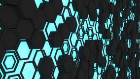 Abstract 3d background made of black hexagons on blue glowing background. Wall of hexagons. Honeycomb pattern. 3D render illustration Royalty Free Stock Photos