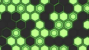Abstract 3d background made of black hexagons on green glowing background. Wall of hexagons. Honeycomb pattern. 3D render illustration Royalty Free Stock Images