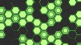 Abstract 3d background made of black hexagons on green glowing background. Wall of hexagons. Honeycomb pattern. 3D render illustration Royalty Free Stock Photography