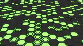 Abstract 3d background made of black hexagons on green glowing background. Wall of hexagons. Honeycomb pattern. 3D render illustration Royalty Free Stock Image