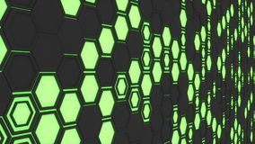 Abstract 3d background made of black hexagons on green glowing background. Wall of hexagons. Honeycomb pattern. 3D render illustration Stock Image