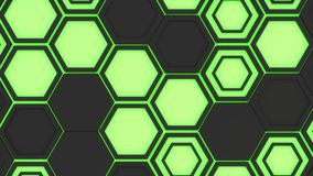 Abstract 3d background made of black hexagons on green glowing background. Wall of hexagons. Honeycomb pattern. 3D render illustration Royalty Free Stock Photo