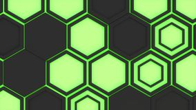 Abstract 3d background made of black hexagons on green glowing background. Wall of hexagons. Honeycomb pattern. 3D render illustration Stock Images