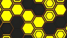Abstract 3d background made of black hexagons on orange glowing background. Wall of hexagons. Honeycomb pattern. 3D render illustration Royalty Free Stock Photo