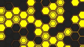 Abstract 3d background made of black hexagons on orange glowing background. Wall of hexagons. Honeycomb pattern. 3D render illustration Stock Photography