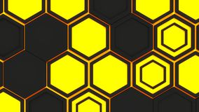 Abstract 3d background made of black hexagons on orange glowing background. Wall of hexagons. Honeycomb pattern. 3D render illustration Royalty Free Stock Photos