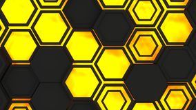 Abstract 3d background made of black hexagons on orange glowing background. Wall of hexagons. Honeycomb pattern. 3D render illustration Vector Illustration