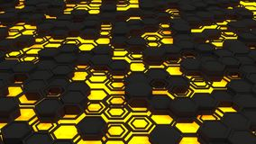 Abstract 3d background made of black hexagons on orange glowing background. Wall of hexagons. Honeycomb pattern. 3D render illustration Royalty Free Illustration