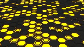 Abstract 3d background made of black hexagons on orange glowing background. Wall of hexagons. Honeycomb pattern. 3D render illustration Stock Photos