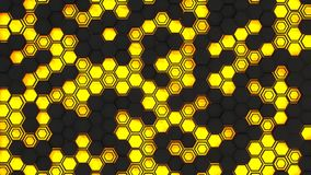 Abstract 3d background made of black hexagons on orange glowing background. Wall of hexagons. Honeycomb pattern. 3D render illustration Stock Illustration
