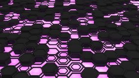 Abstract 3d background made of black hexagons on orange purple background. Abstract 3d background made of black hexagons on purple glowing background. Wall of Stock Image