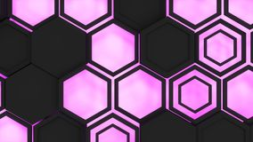 Abstract 3d background made of black hexagons on orange purple background. Abstract 3d background made of black hexagons on purple glowing background. Wall of Royalty Free Stock Image