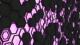 Abstract 3d background made of black hexagons on orange purple background. Abstract 3d background made of black hexagons on purple glowing background. Wall of Royalty Free Stock Photos