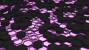 Abstract 3d background made of black hexagons on orange purple background. Abstract 3d background made of black hexagons on purple glowing background. Wall of Stock Photos