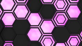 Abstract 3d background made of black hexagons on orange purple background. Abstract 3d background made of black hexagons on purple glowing background. Wall of Stock Images