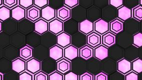 Abstract 3d background made of black hexagons on orange purple background. Abstract 3d background made of black hexagons on purple glowing background. Wall of Royalty Free Stock Photo