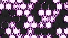 Abstract 3d background made of black hexagons on orange purple background. Abstract 3d background made of black hexagons on purple glowing background. Wall of Stock Photography