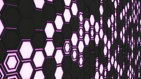Abstract 3d background made of black hexagons on orange purple background. Abstract 3d background made of black hexagons on purple glowing background. Wall of Royalty Free Stock Photography