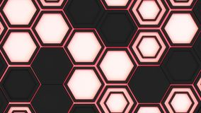 Abstract 3d background made of black hexagons on red glowing background. Wall of hexagons. Honeycomb pattern. 3D render illustration royalty free illustration