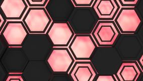 Abstract 3d background made of black hexagons on red glowing background. Wall of hexagons. Honeycomb pattern. 3D render illustration Stock Photography