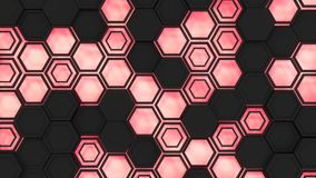 Abstract 3d background made of black hexagons on red glowing background. Wall of hexagons. Honeycomb pattern. 3D render illustration Stock Image