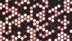 Abstract 3d background made of black hexagons on red glowing background. Wall of hexagons. Honeycomb pattern. 3D render illustration Stock Photos