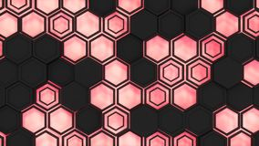 Abstract 3d background made of black hexagons on red glowing background. Wall of hexagons. Honeycomb pattern. 3D render illustration Royalty Free Stock Image