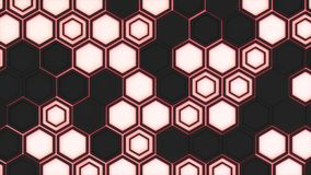 Abstract 3d background made of black hexagons on red glowing background. Wall of hexagons. Honeycomb pattern. 3D render illustration Stock Photo