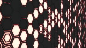 Abstract 3d background made of black hexagons on red glowing background. Wall of hexagons. Honeycomb pattern. 3D render illustration Royalty Free Stock Images