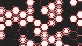 Abstract 3d background made of black hexagons on red glowing background. Wall of hexagons. Honeycomb pattern. 3D render illustration stock illustration