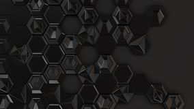 Abstract 3d background made of black hexagons. On black background. Wall of hexagons. Honeycomb pattern. 3D render illustration Royalty Free Stock Image