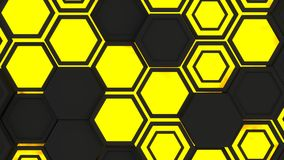Abstract 3d background made of yellow hexagons on orange glowing background. Abstract 3d background made of black hexagons on yellow glowing background. Wall of stock illustration