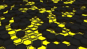 Abstract 3d background made of yellow hexagons on orange glowing background. Abstract 3d background made of black hexagons on yellow glowing background. Wall of royalty free illustration