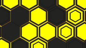Abstract 3d background made of yellow hexagons on orange glowing background. Abstract 3d background made of black hexagons on yellow glowing background. Wall of Royalty Free Stock Photo