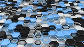 Abstract 3d background made of black, white and blue hexagons on white background. Wall of hexagons. Honeycomb pattern. 3D render illustration Stock Photography