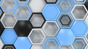 Abstract 3d background made of black, white and blue hexagons on white background. Wall of hexagons. Honeycomb pattern. 3D render illustration Stock Image