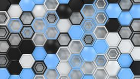 Abstract 3d background made of black, white and blue hexagons on white background. Wall of hexagons. Honeycomb pattern. 3D render illustration Royalty Free Stock Photography