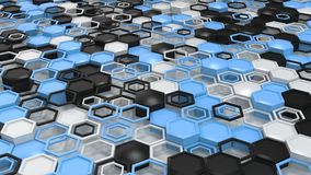 Abstract 3d background made of black, white and blue hexagons on white background. Wall of hexagons. Honeycomb pattern. 3D render illustration Royalty Free Stock Photos