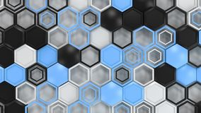 Abstract 3d background made of black, white and blue hexagons on white background. Wall of hexagons. Honeycomb pattern. 3D render illustration Stock Photos