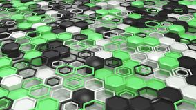 Abstract 3d background made of black, white and green hexagons on white background. Wall of hexagons. Honeycomb pattern. 3D render illustration stock illustration