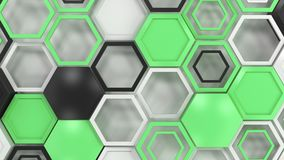 Abstract 3d background made of black, white and green hexagons on white background. Wall of hexagons. Honeycomb pattern. 3D render illustration royalty free illustration