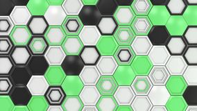 Abstract 3d background made of black, white and green hexagons on white background.jpg Stock Photography