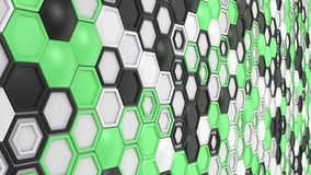 Abstract 3d background made of black, white and green hexagons on white background.jpg Royalty Free Stock Photos