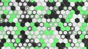 Abstract 3d background made of black, white and green hexagons on white background.jpg Royalty Free Stock Images